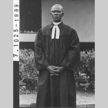 A photo from the Staatsarchiv Bremen in Germany (no. 7,1025,1889): Rev. Godwin Agbodza, born in Santrokofi, ordinated in 1947.